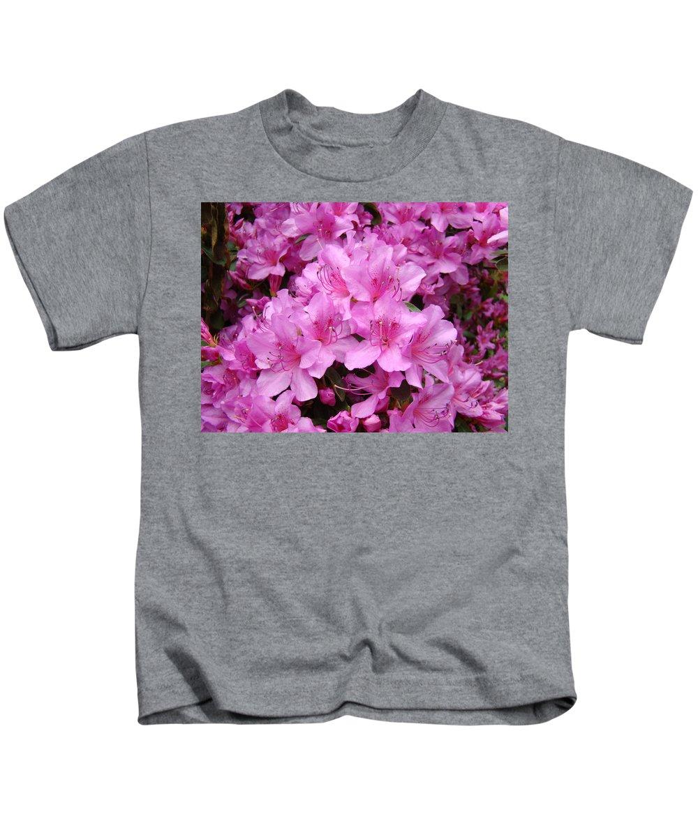 �azaleas Artwork� Kids T-Shirt featuring the photograph Pink Azaleas Summer Garden 6 Azalea Flowers Giclee Art Prints Baslee Troutman by Baslee Troutman
