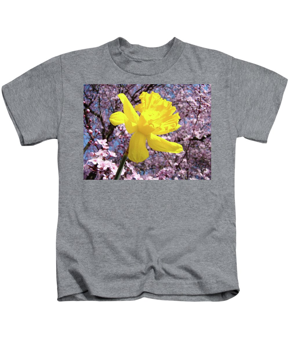 Nature Kids T-Shirt featuring the photograph Pink Blossom Spring Trees Yellow Daffodil Flower Baslee Troutman by Baslee Troutman