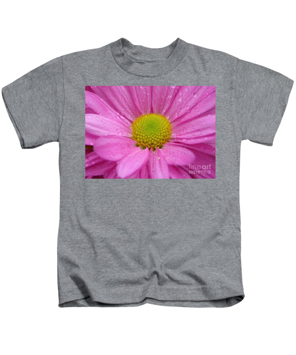 Pink Daisy Kids T-Shirt featuring the photograph Pink Daisy With Raindrops by Carol Groenen