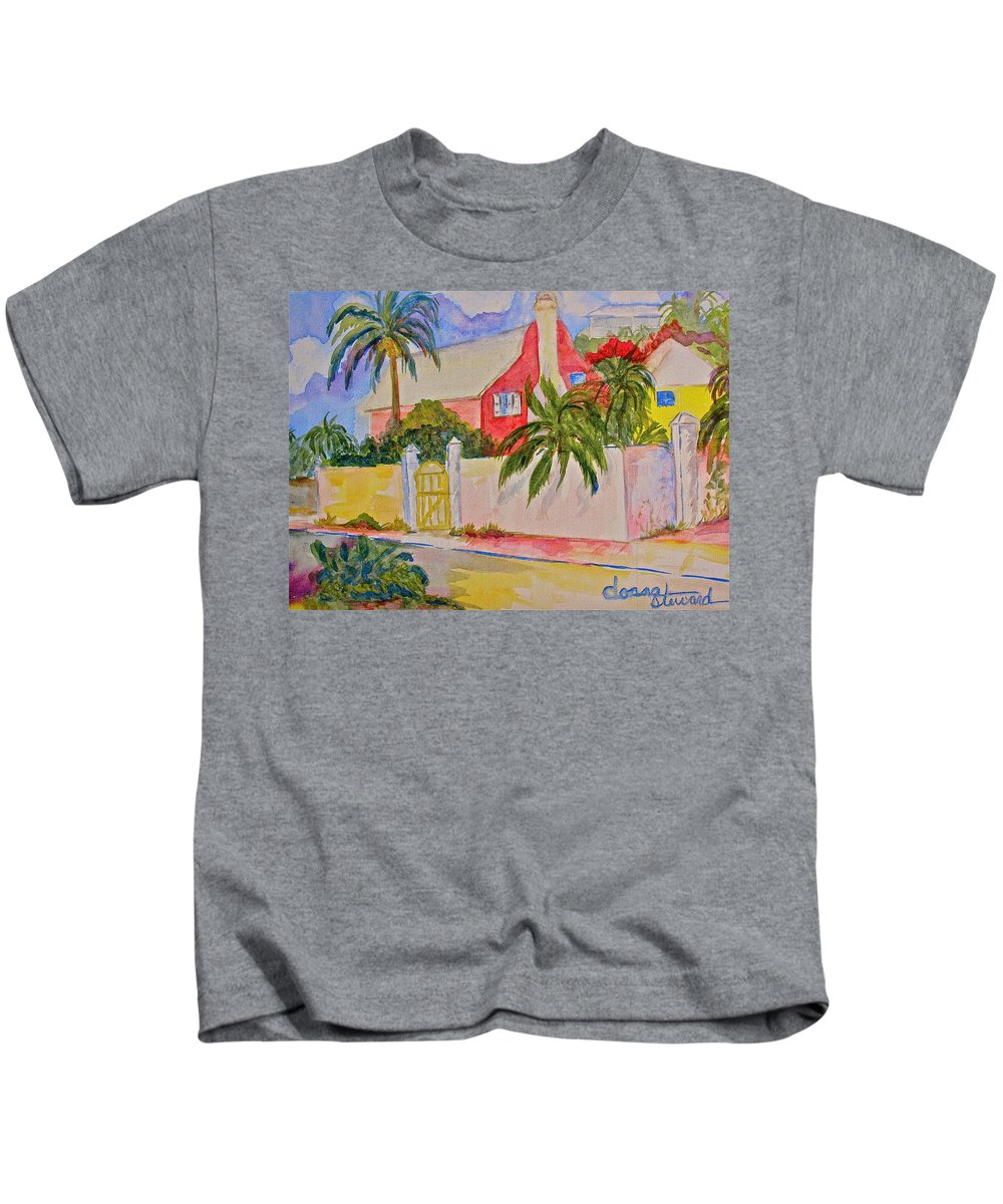 Island House Kids T-Shirt featuring the painting Pink House by Donna Steward