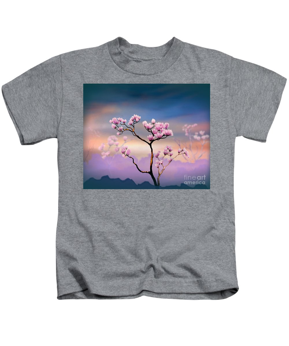 Pink Kids T-Shirt featuring the digital art Pink Magnolia - Bright Version by Peter Awax