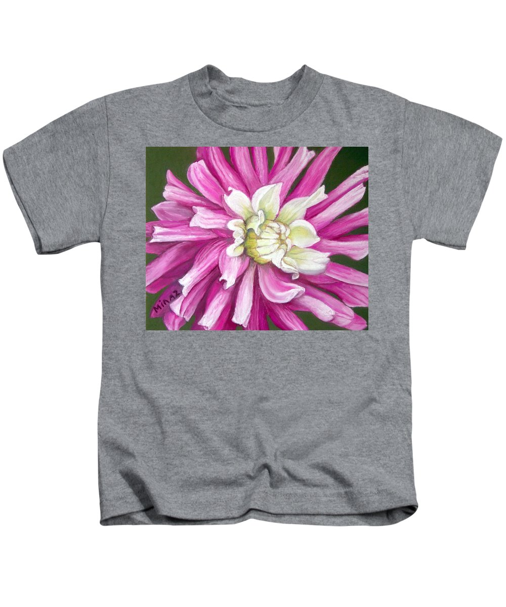 Floral Kids T-Shirt featuring the painting Pink Petal Blast by Minaz Jantz