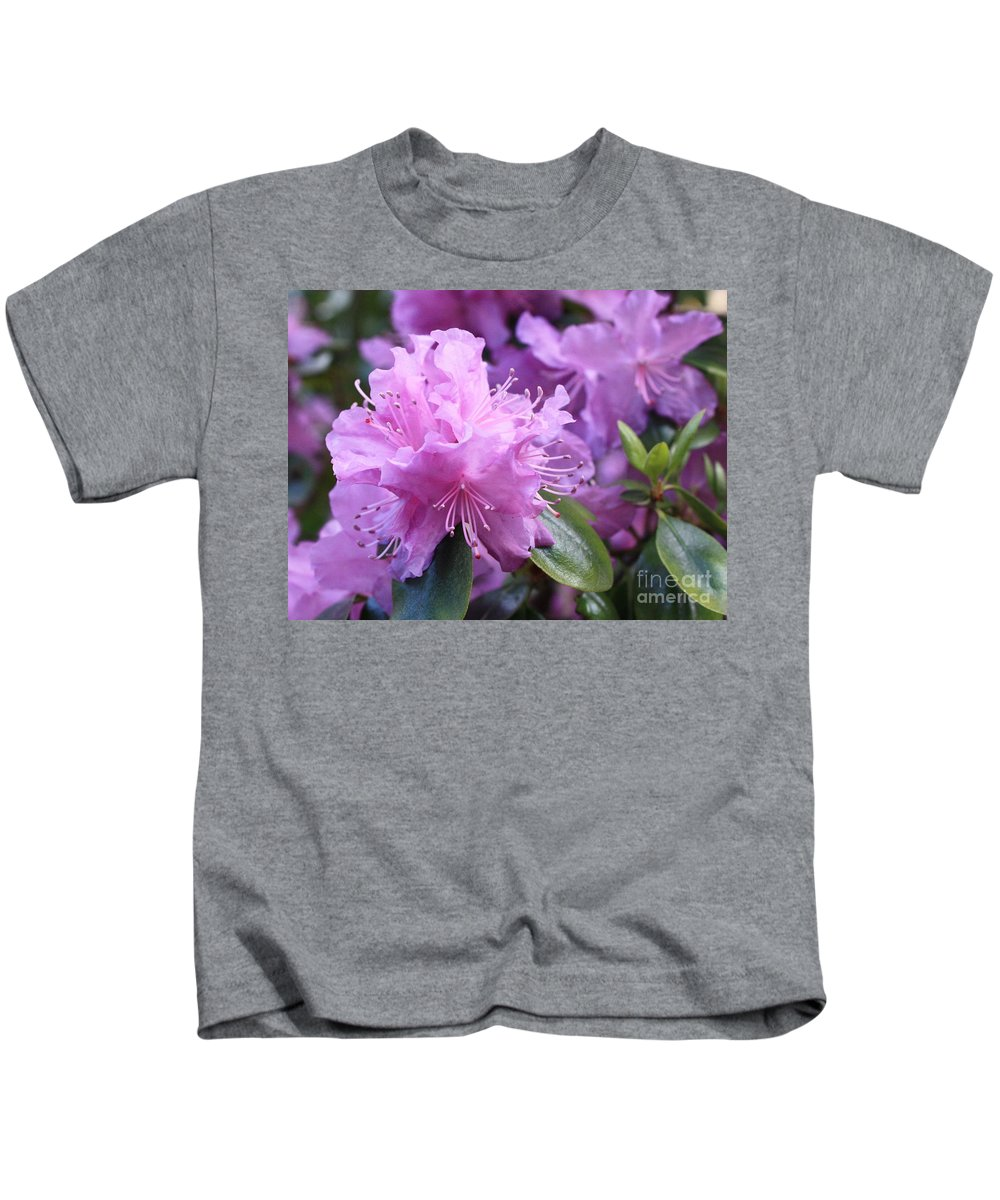 Flower Kids T-Shirt featuring the photograph Light Purple Rhododendron With Leaves by Carol Groenen