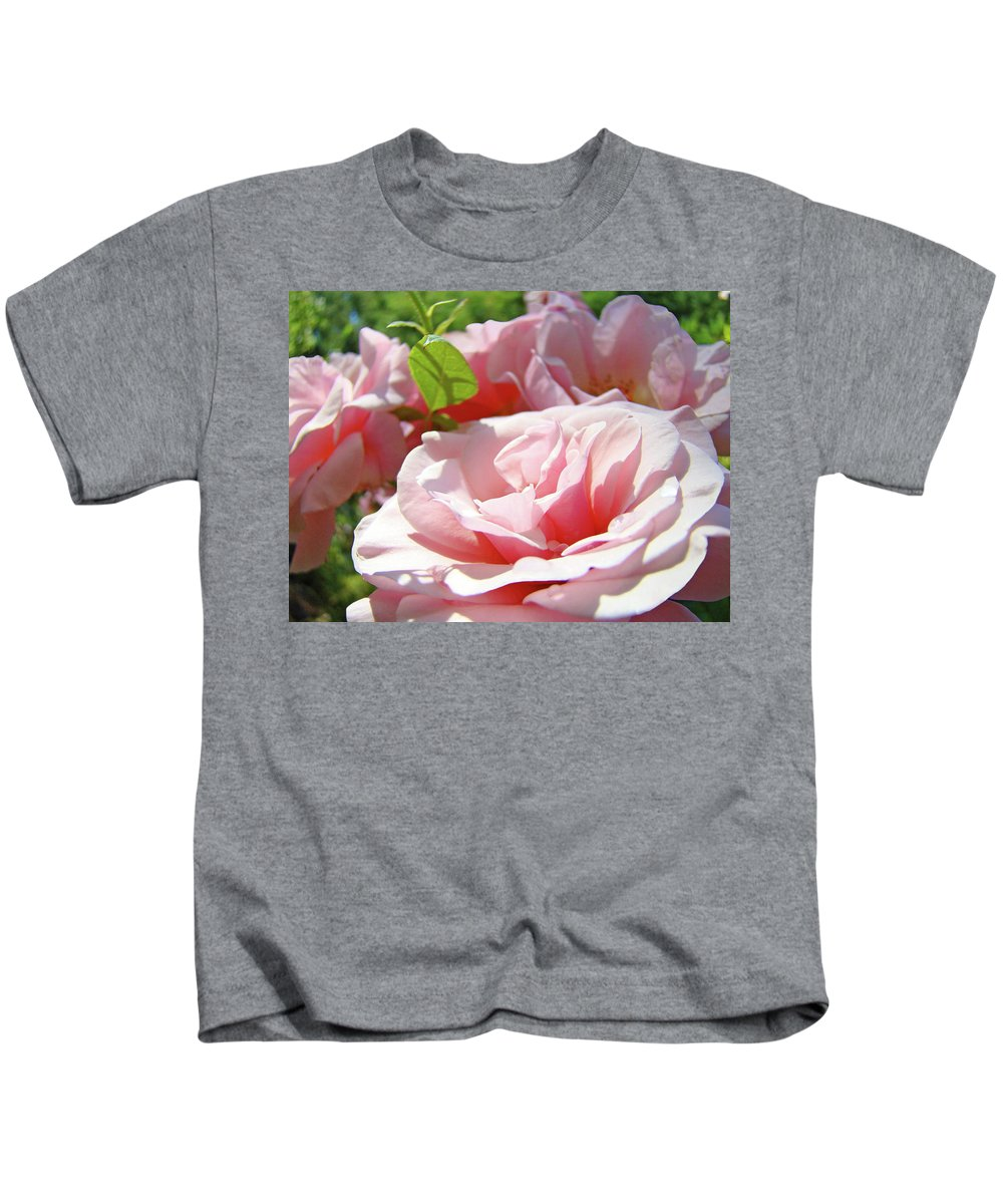 Rose Kids T-Shirt featuring the photograph Pink Rose Flower Garden Art Prints Pastel Pink Roses Baslee Troutman by Baslee Troutman