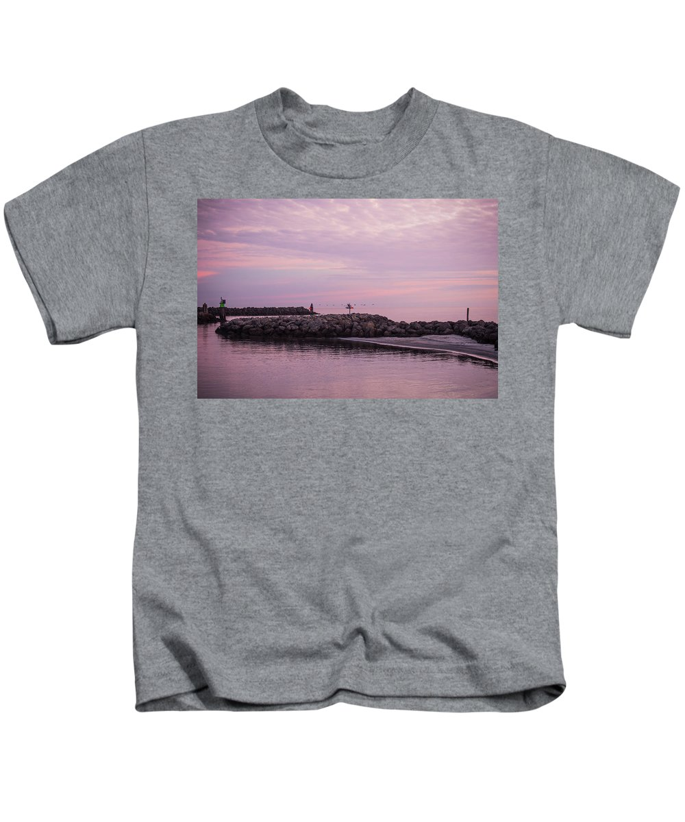 Outer Banks Kids T-Shirt featuring the photograph Pink Skies At Dawn by Paula OMalley