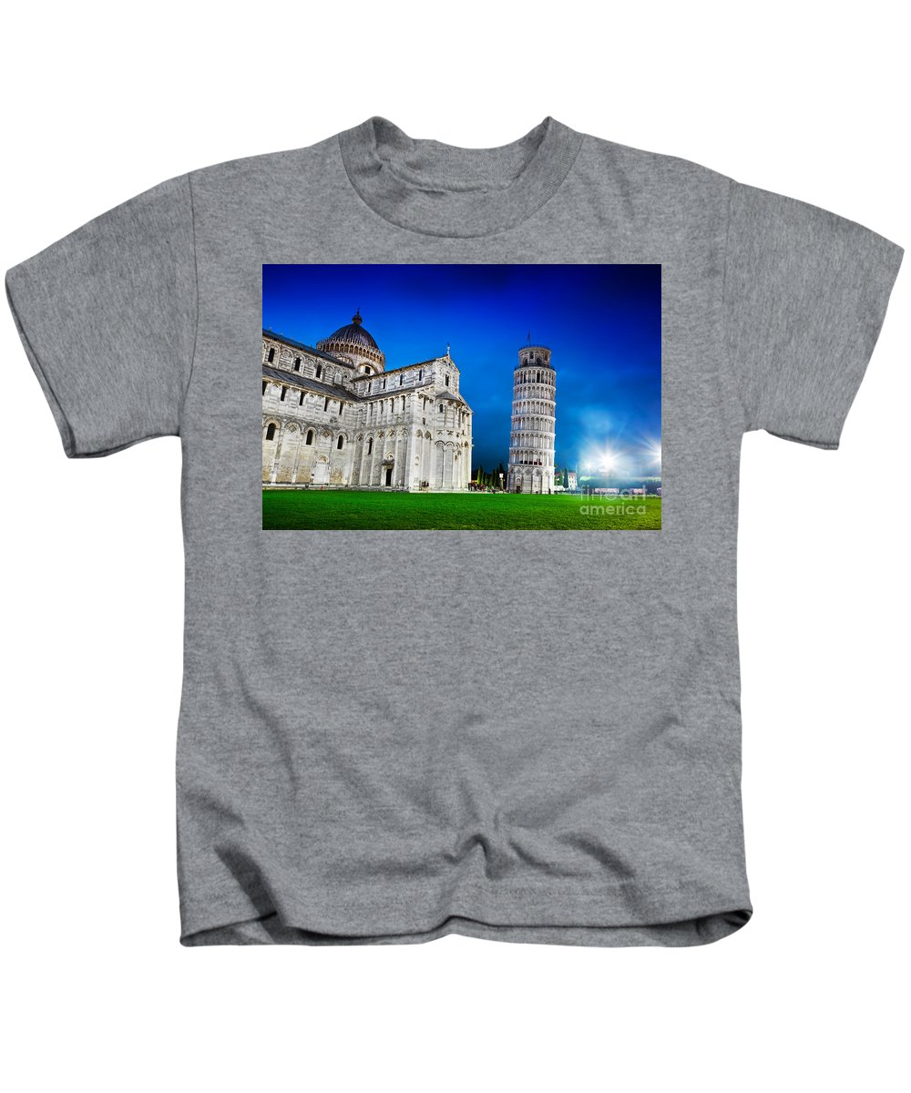 Pisa Kids T-Shirt featuring the photograph Pisa Cathedral With The Leaning Tower Of Pisa, Tuscany, Italy At Night by Michal Bednarek