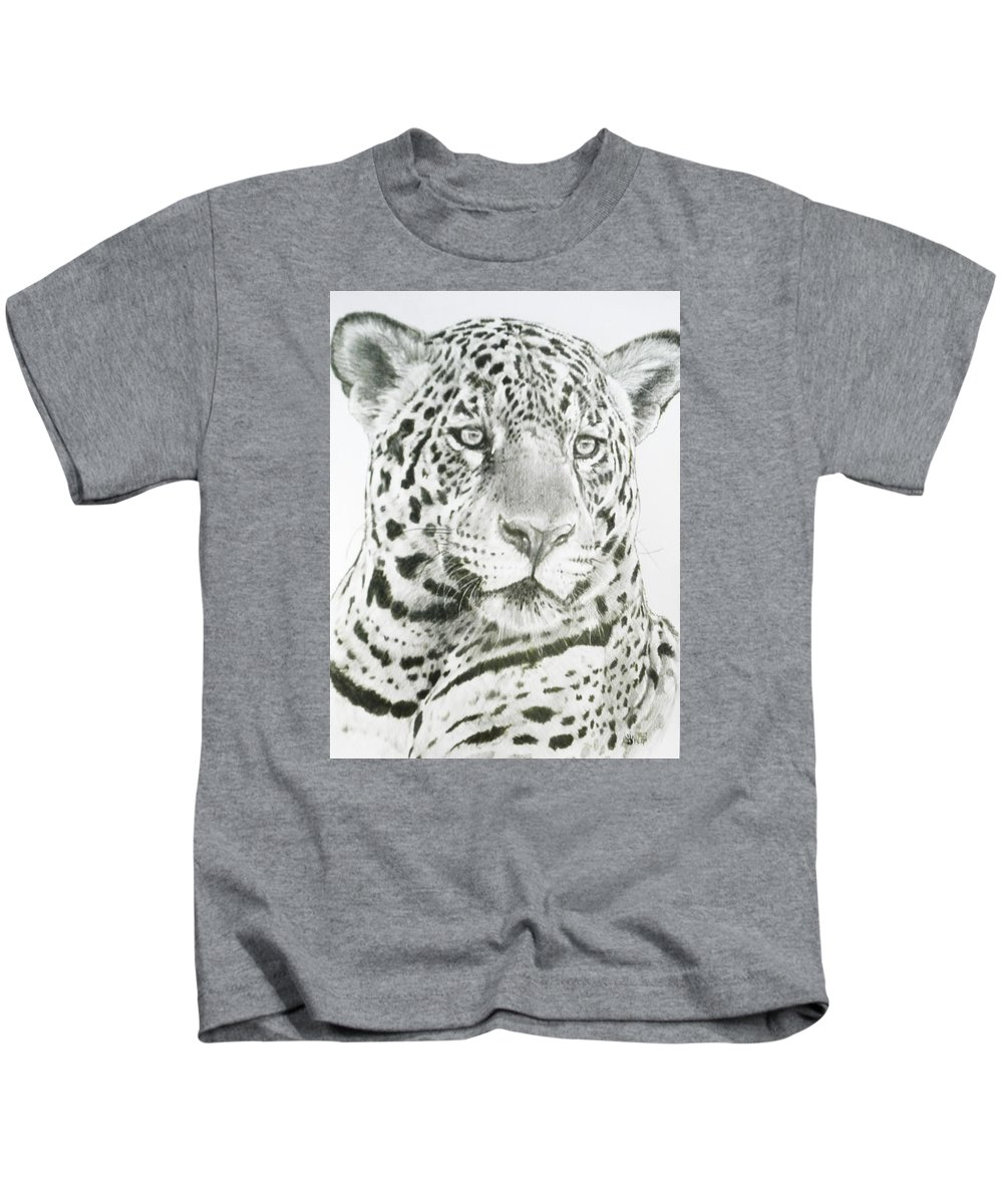 Jaguar Kids T-Shirt featuring the drawing Placate by Barbara Keith
