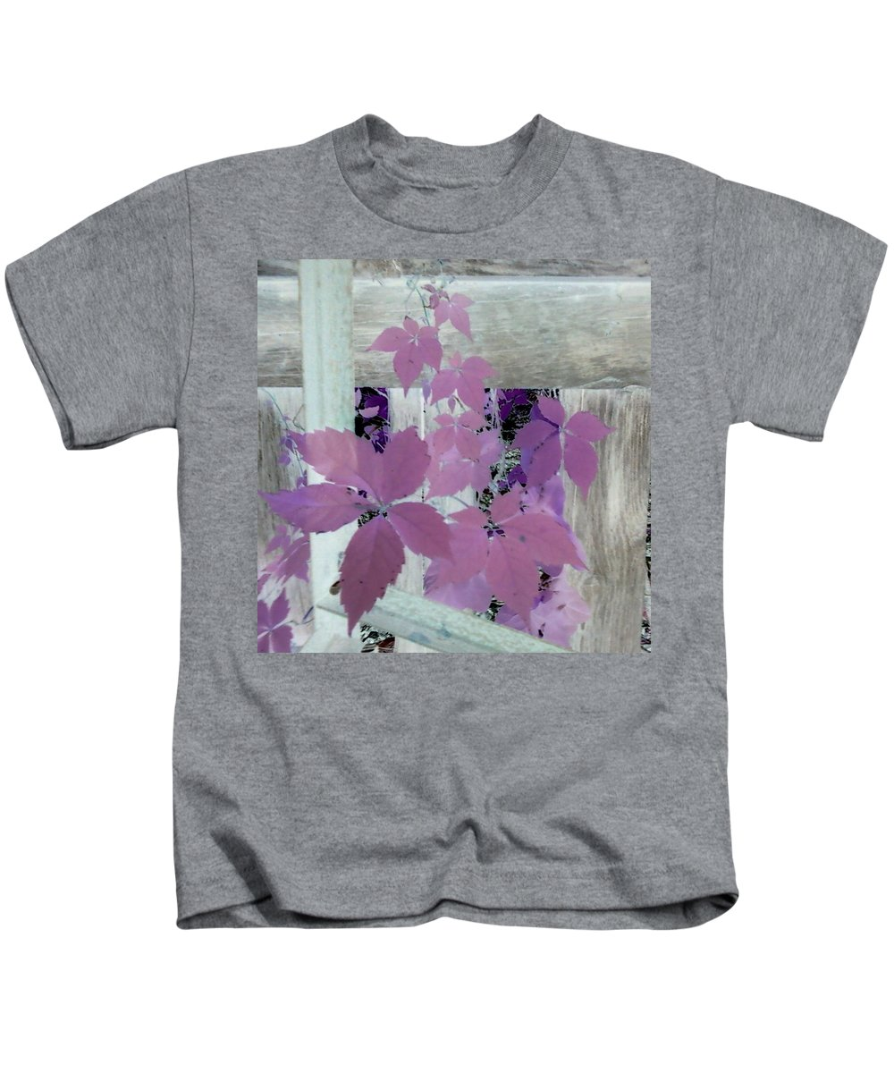 Barn Wood Plant Old Purple Kids T-Shirt featuring the photograph Plant In Negative by Cindy New