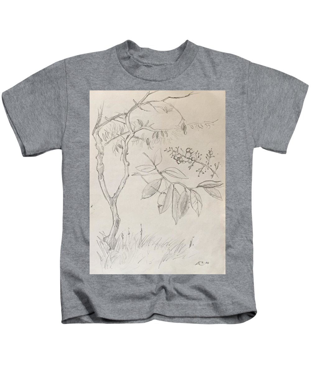 Kids T-Shirt featuring the drawing Plant Study by Alejandro Lopez-Tasso