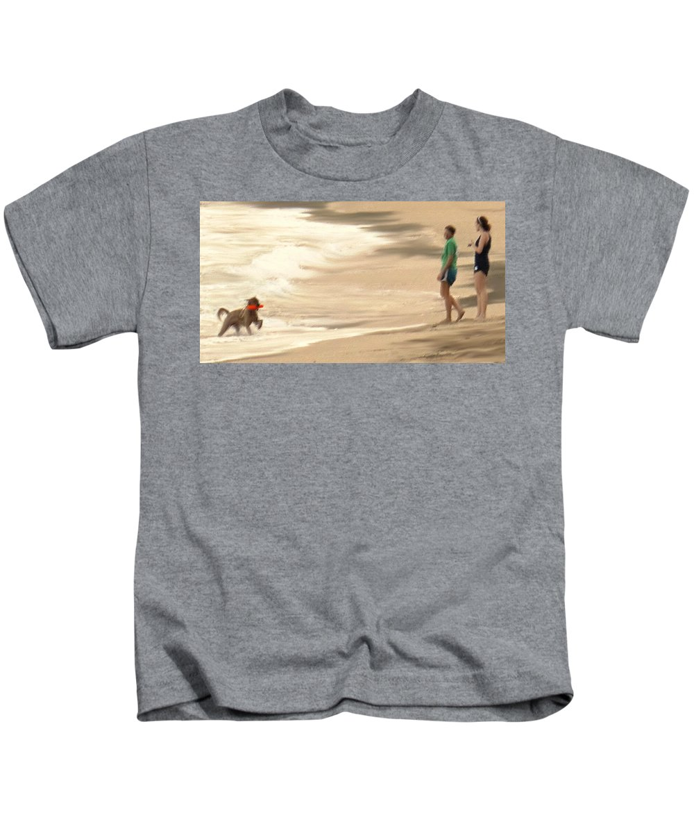 Dog Kids T-Shirt featuring the photograph Playing On A Beach by Ian MacDonald