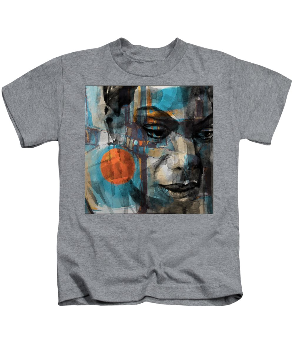 Nina Simone Kids T-Shirt featuring the mixed media Please Don't Let Me Be Misunderstood by Paul Lovering