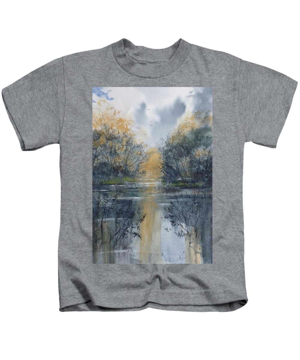 Watercolor Kids T-Shirt featuring the painting Pm River 2 by David K Myers