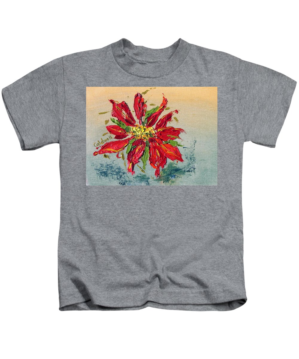 Red Flower Christmas Holiday Green Kids T-Shirt featuring the painting Poinsettia by Patricia Caldwell