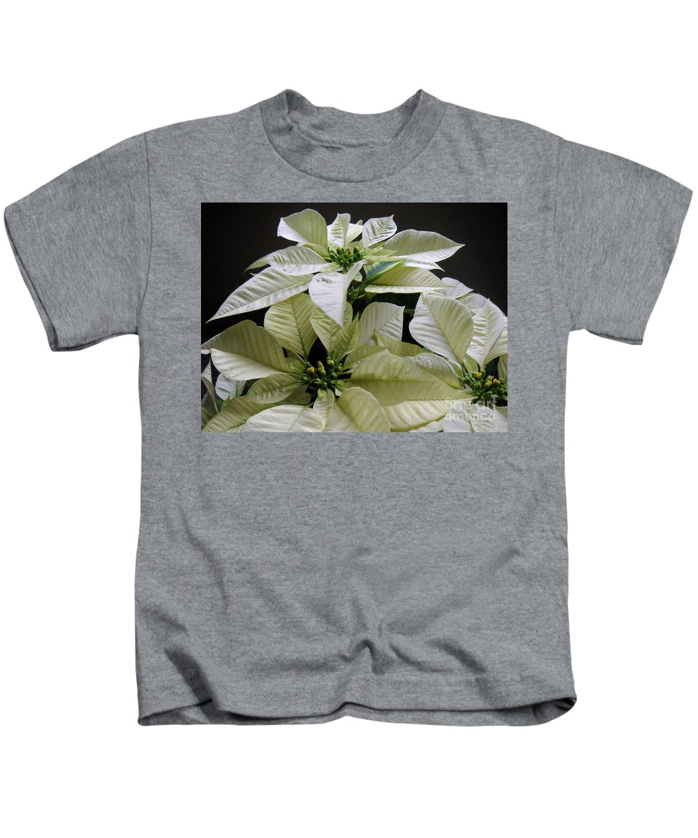 Nature Kids T-Shirt featuring the photograph Poinsettias - Winter White At Night by Lucyna A M Green
