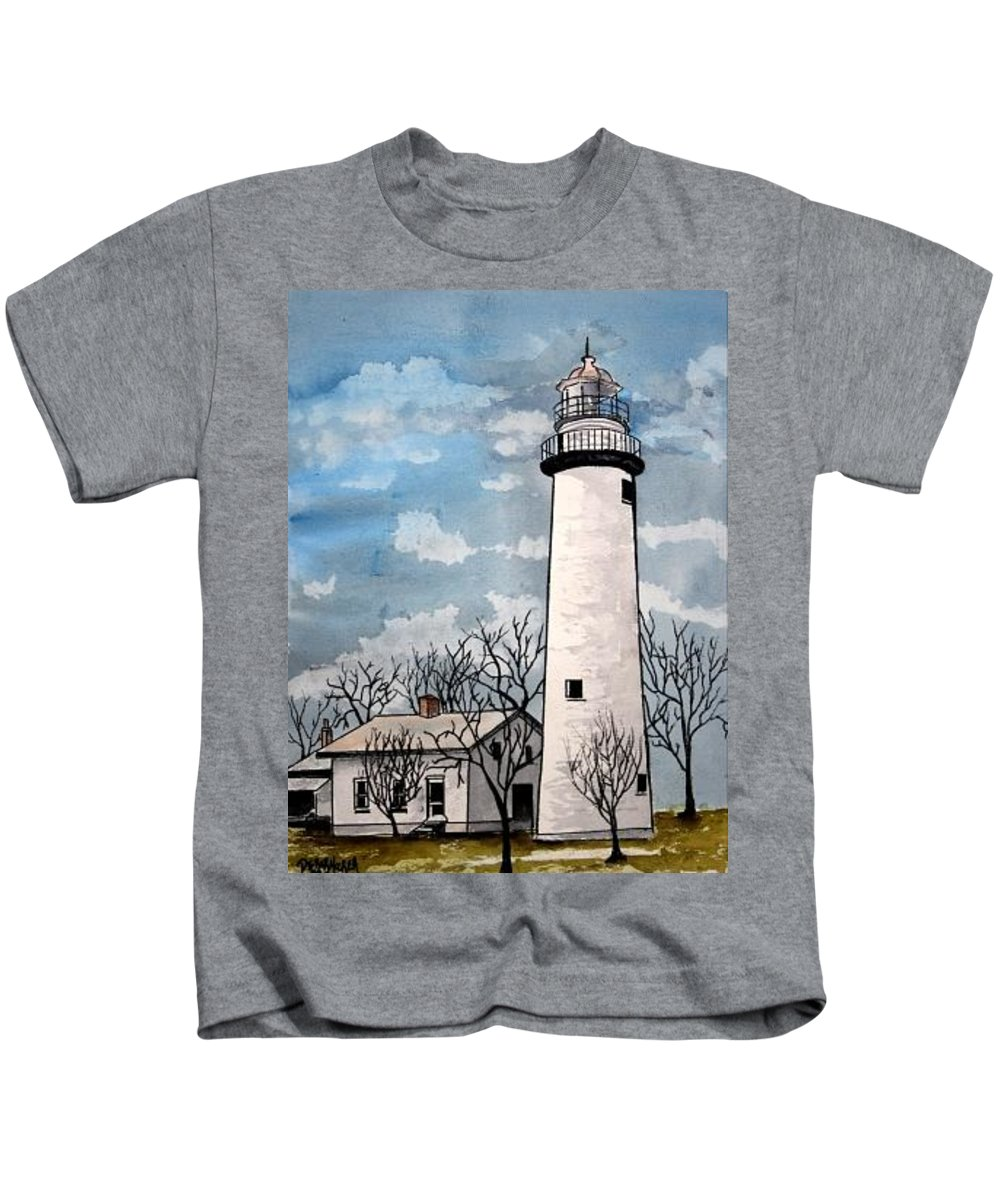 Lighthouse Painting Kids T-Shirt featuring the painting Point Aux Barques Lighthouse by Derek Mccrea