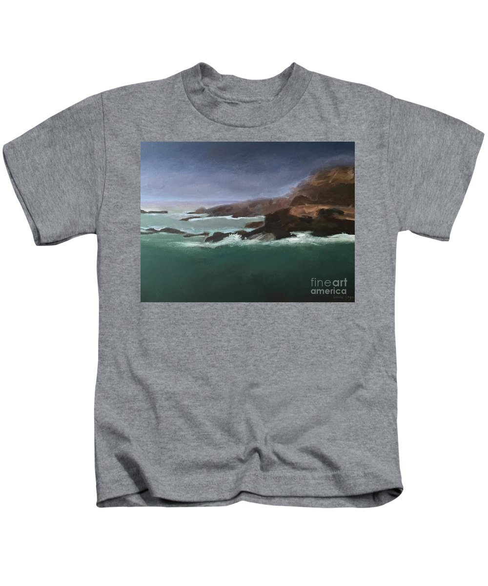 Marine Kids T-Shirt featuring the painting Point Lobos Monterey by Claire Gagnon