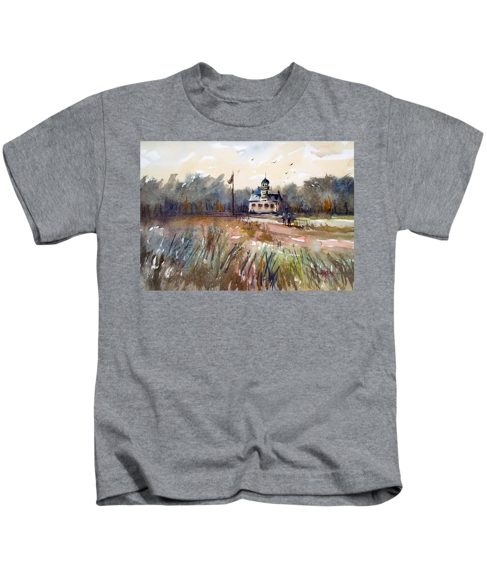 Watercolor Kids T-Shirt featuring the painting Point Pinos Lighthouse by Ryan Radke