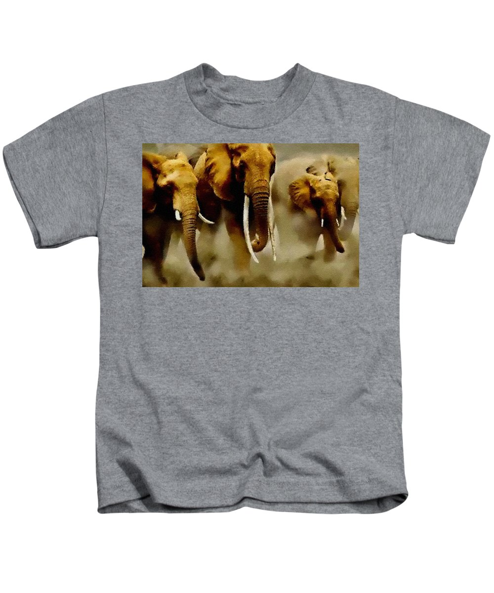 Announcement Kids T-Shirt featuring the painting Pointelist Elephants - Wildlife Series Catus 1 No.1 H B by Gert J Rheeders
