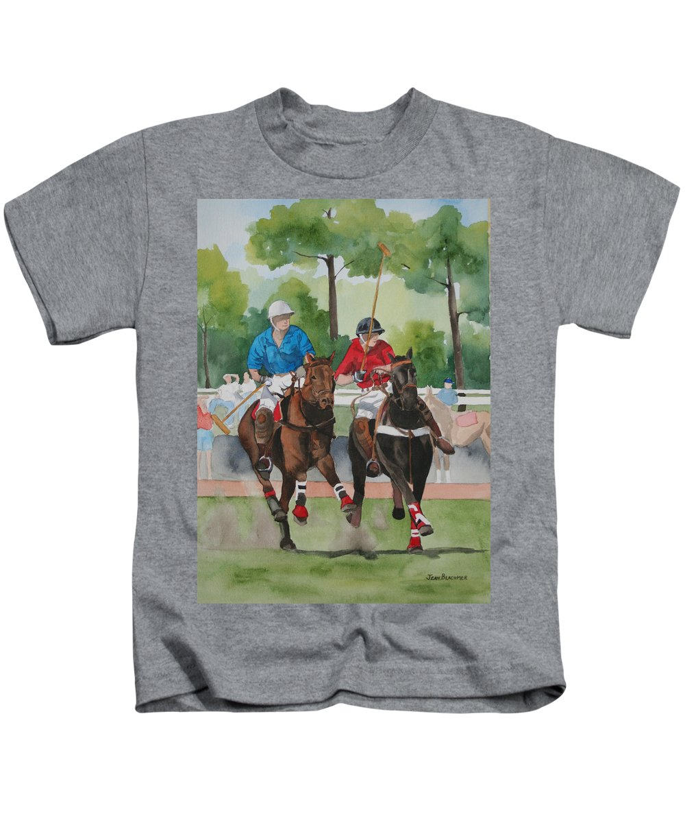 Polo Kids T-Shirt featuring the painting Polo In The Afternoon 2 by Jean Blackmer