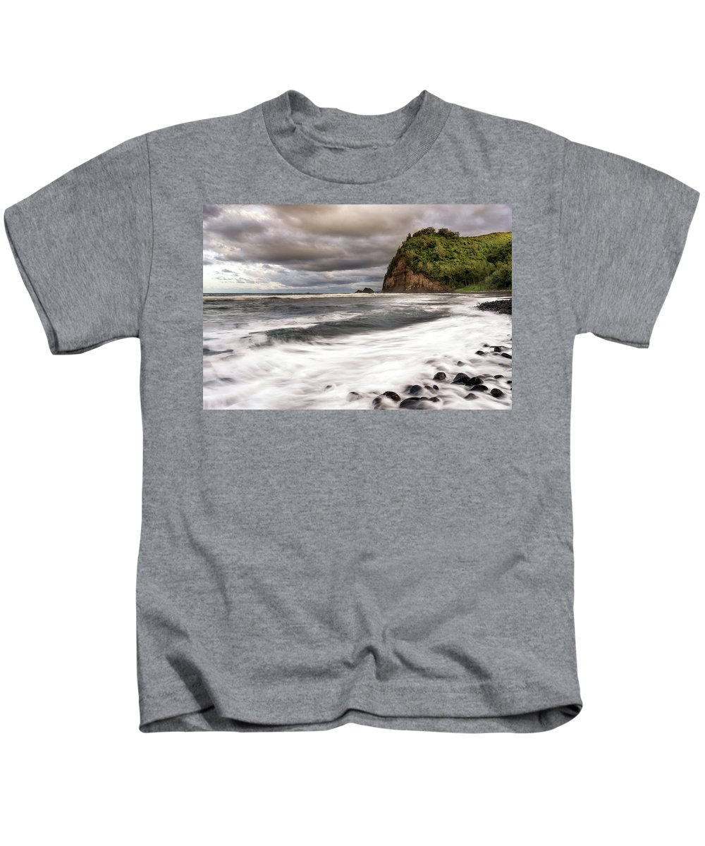 Hawaii Kids T-Shirt featuring the photograph Pololu Whitewash by Christopher Johnson