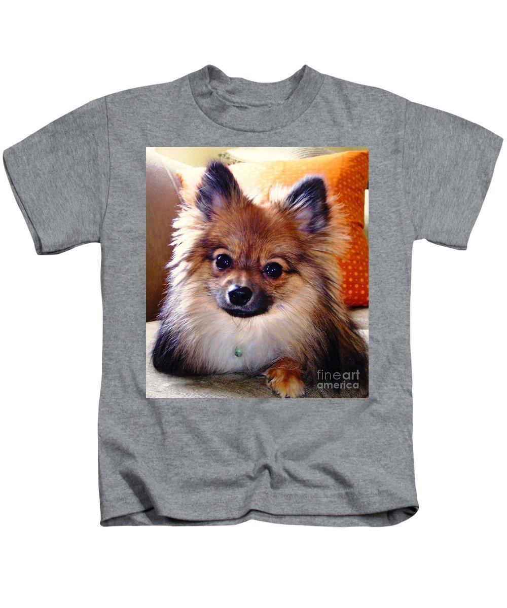 Contemplation Kids T-Shirt featuring the photograph Pomeranian Contemplation by Karen Quinker