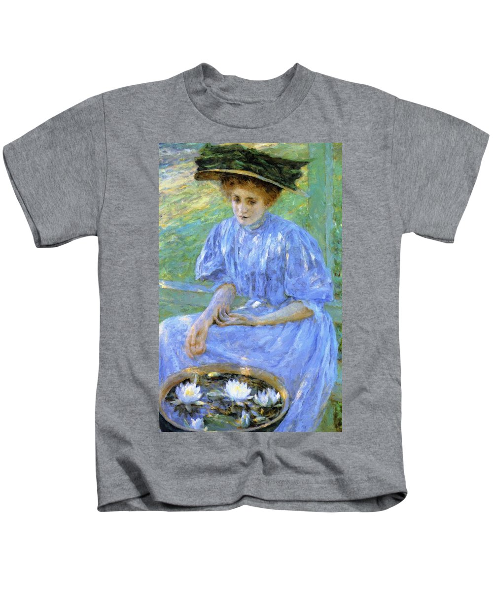 Pond Kids T-Shirt featuring the painting Pond Lilies 1908 by Reid Robert Lewis