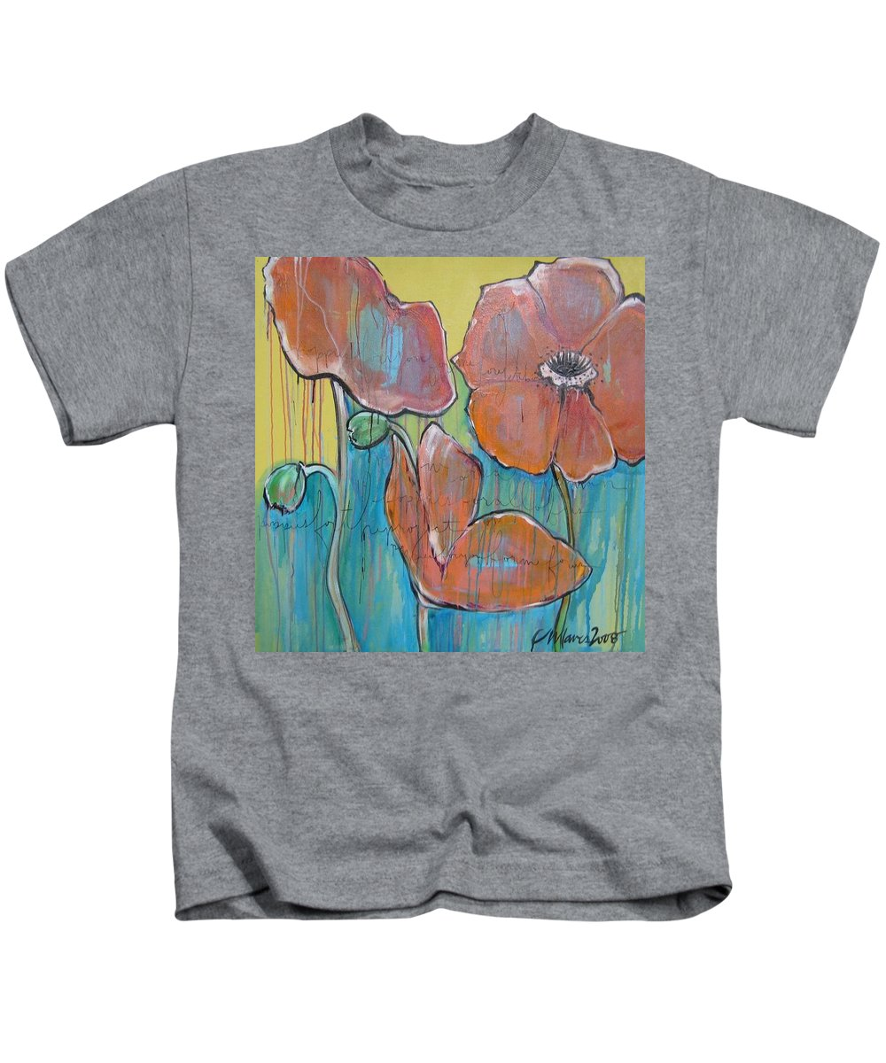 Pop Art Kids T-Shirt featuring the painting Poppies 3 by Laurie Maves ART