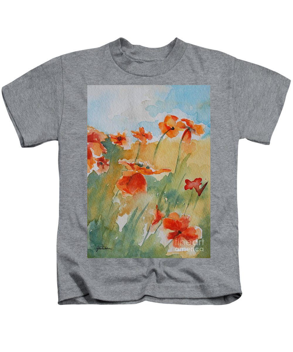 Poppies Kids T-Shirt featuring the painting Poppies by Gretchen Bjornson