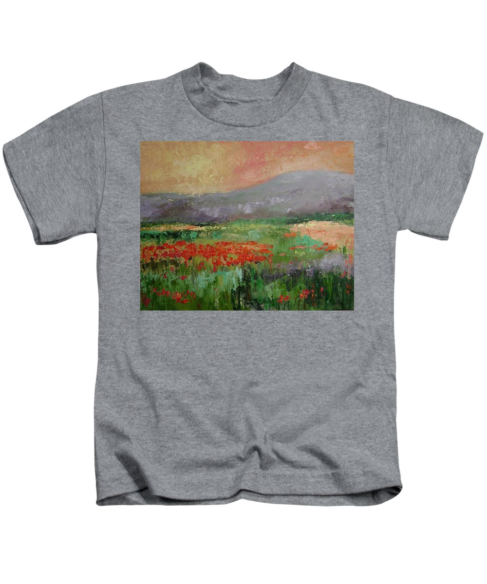 Poppies Kids T-Shirt featuring the painting Poppyfield by Ginger Concepcion