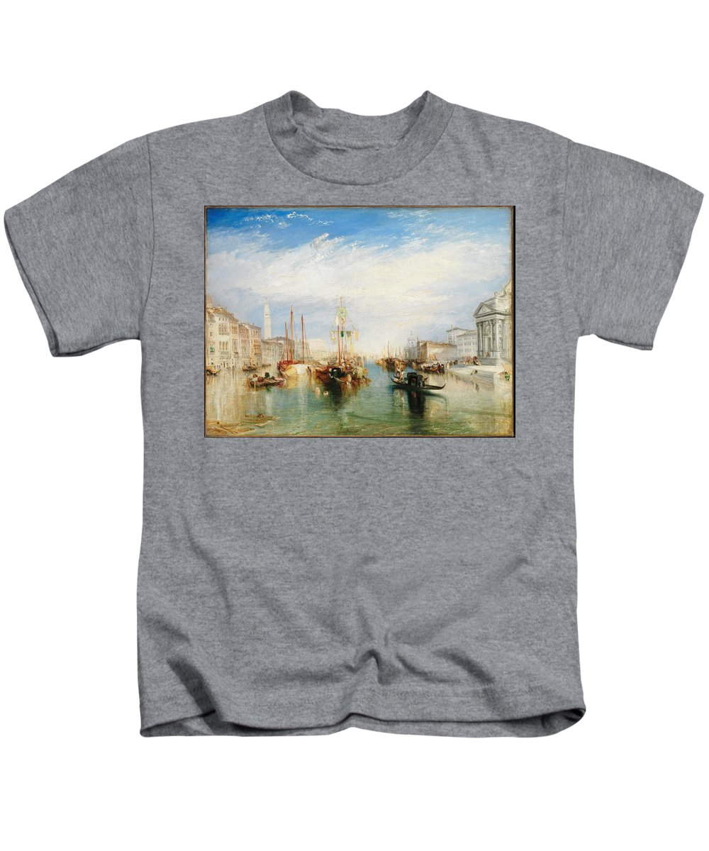 Venice Kids T-Shirt featuring the painting Porch Of Madonna Della Salute by MotionAge Designs