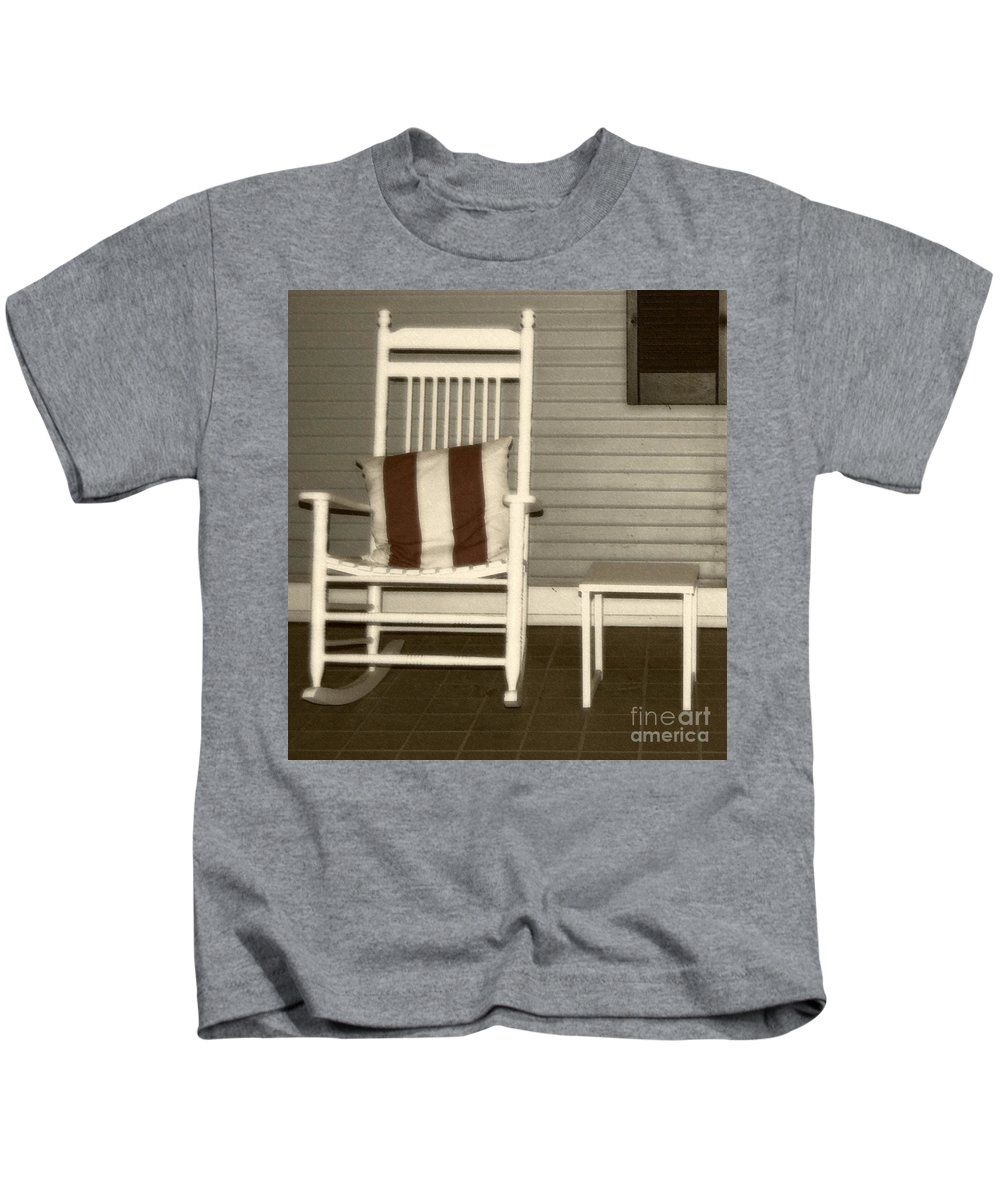 Rocking Chair Kids T-Shirt featuring the photograph Porch Rocker by Debbi Granruth