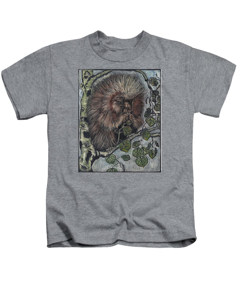 Animal Kids T-Shirt featuring the drawing Porcupine In Aspen by Dawn Senior-Trask