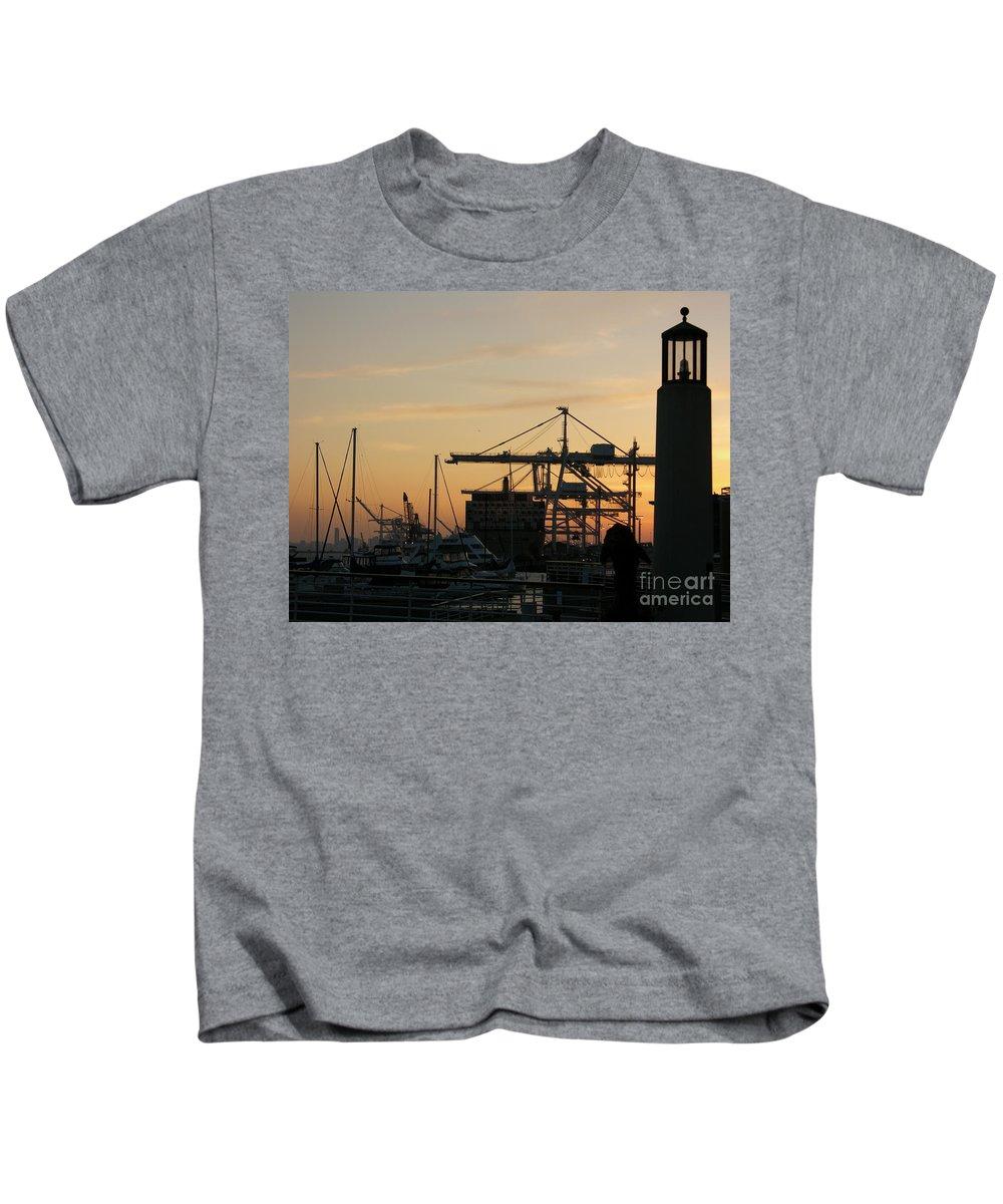 Oakland Kids T-Shirt featuring the photograph Port Of Oakland Sunset by Carol Groenen