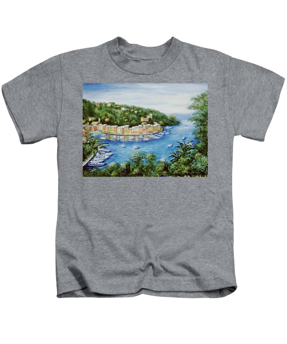 European Kids T-Shirt featuring the painting Portofino Majestic Panoramic View by Marilyn Dunlap