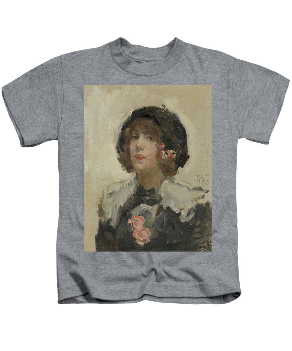 19th Century Painters Kids T-Shirt featuring the painting Portrait Of A Woman by Isaac Israels