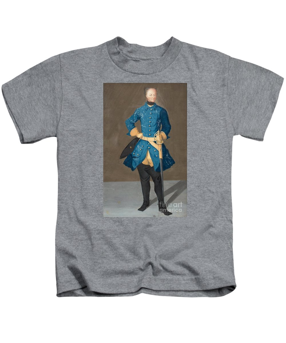 Fullfigure Portrait Of King Karl Xii Of Sweden (1682-1718). Young Kids T-Shirt featuring the painting Portrait Of King Karl Xii Of Sweden by MotionAge Designs