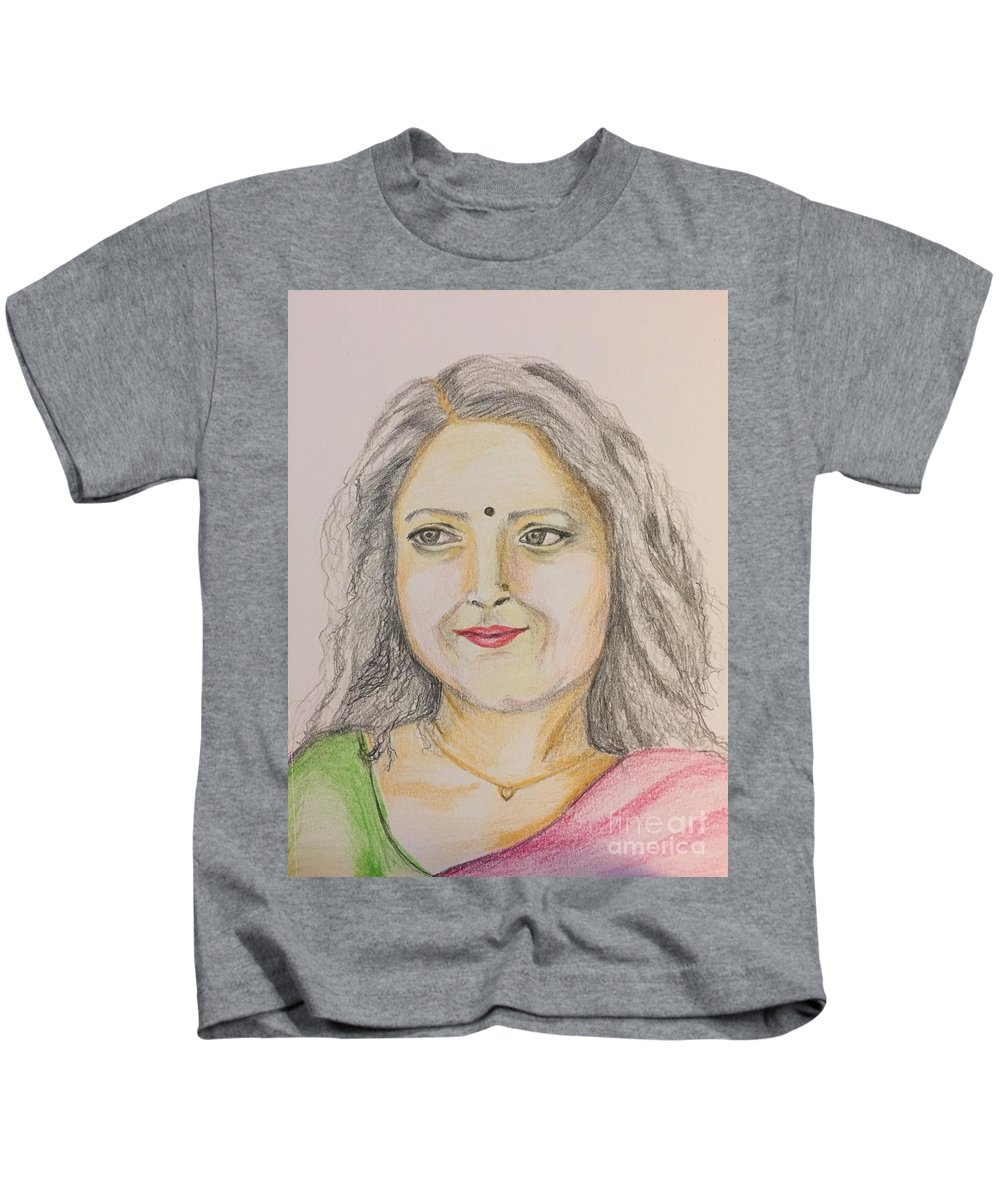 Color Pencils Kids T-Shirt featuring the drawing Portrait With Colorpencils 2 by Brindha Naveen