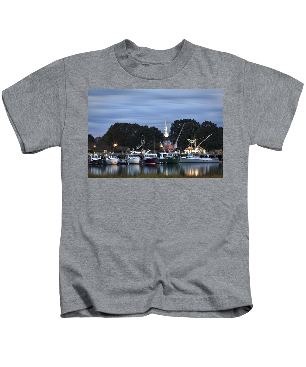 Portsmouth Kids T-Shirt featuring the photograph Portsmouth Fish Pier by Eric Gendron