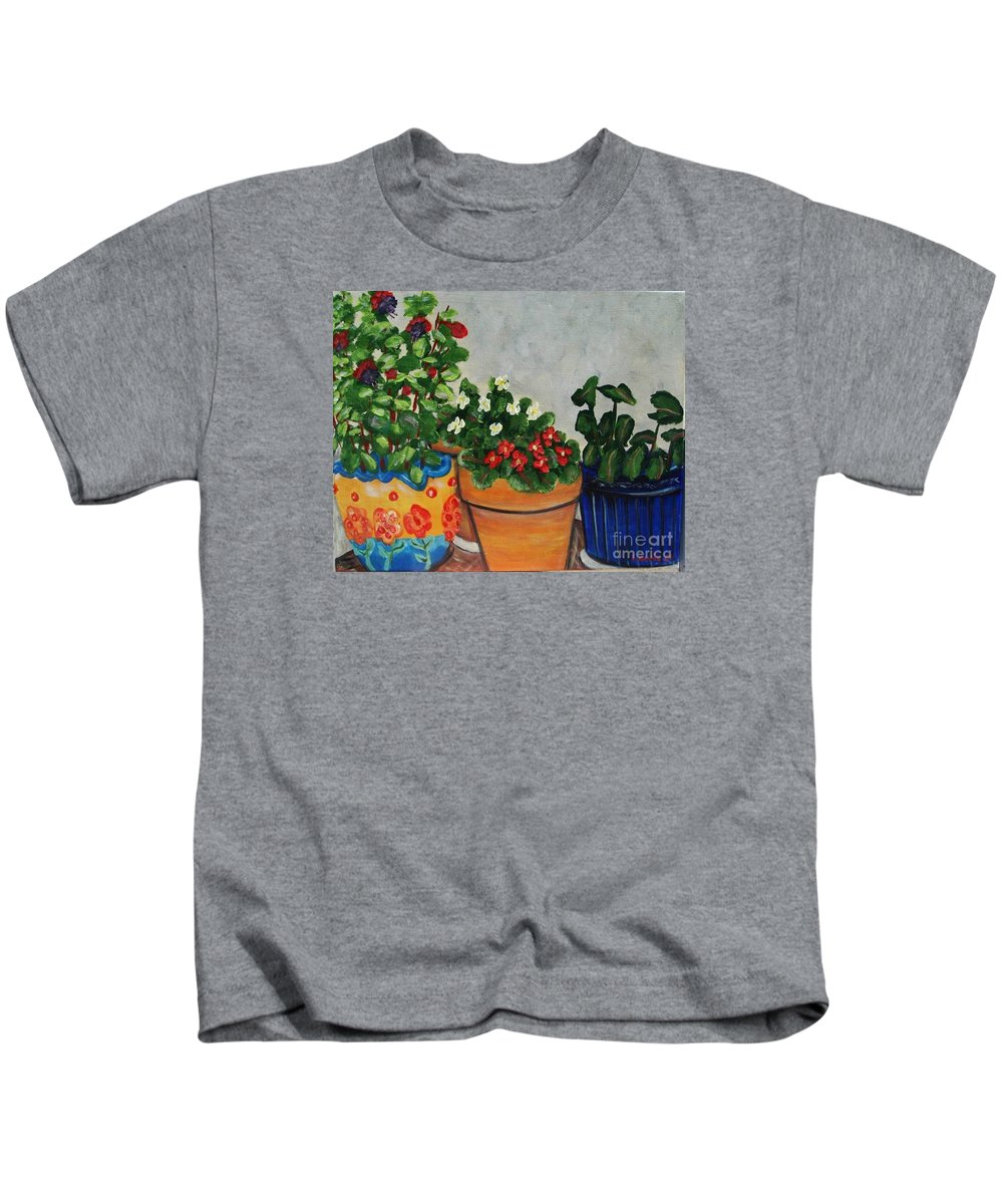 Ceramic Pots Kids T-Shirt featuring the painting Pots Showing Off by Laurie Morgan