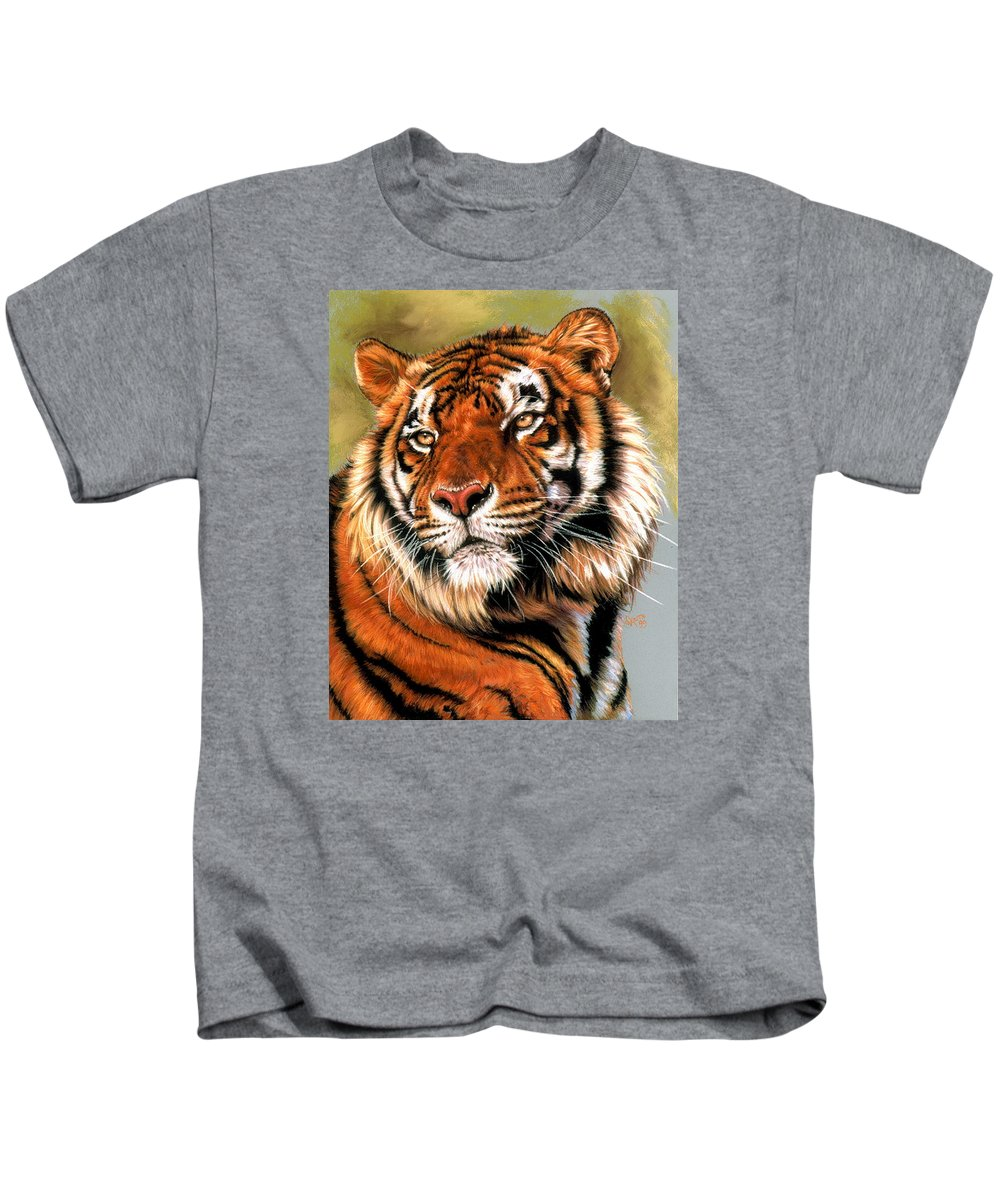 Tiger Kids T-Shirt featuring the pastel Power And Grace by Barbara Keith