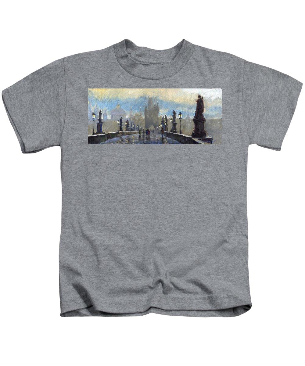 Pastel Kids T-Shirt featuring the pastel Prague Charles Bridge 06 by Yuriy Shevchuk