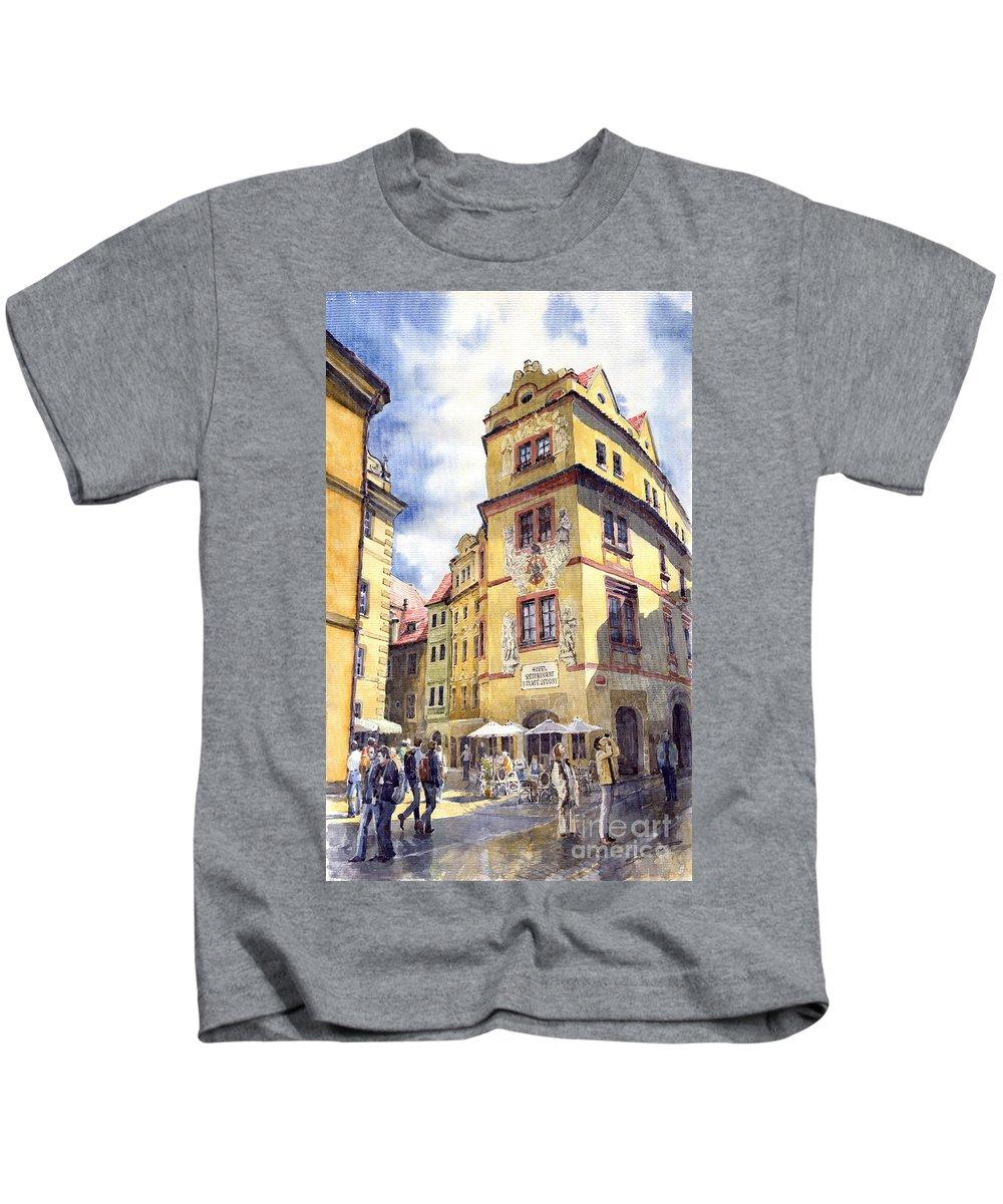 Architecture Kids T-Shirt featuring the painting Prague Karlova Street Hotel U Zlate Studny by Yuriy Shevchuk