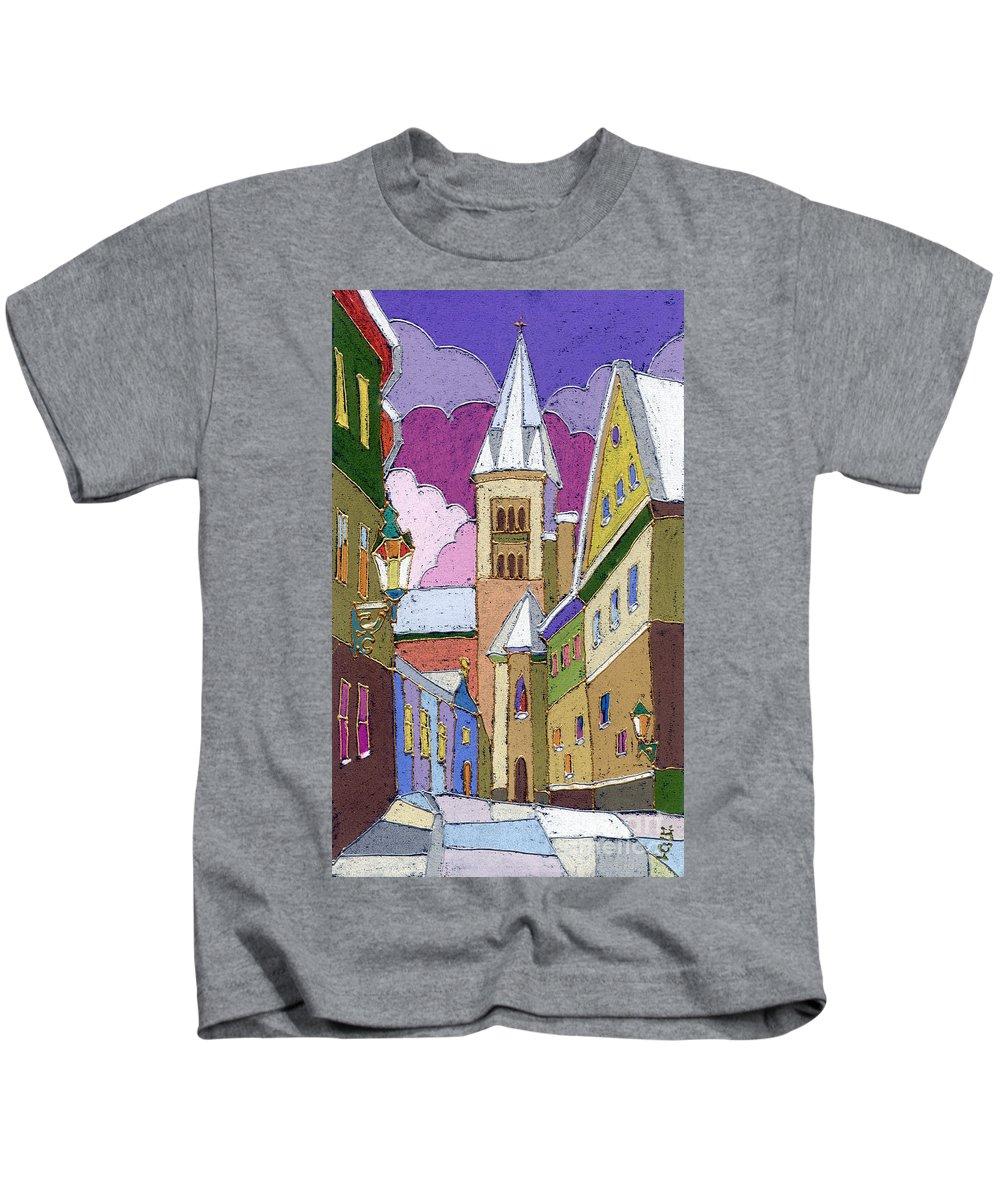 Pastel Kids T-Shirt featuring the painting Prague Old Street Jilska Winter by Yuriy Shevchuk