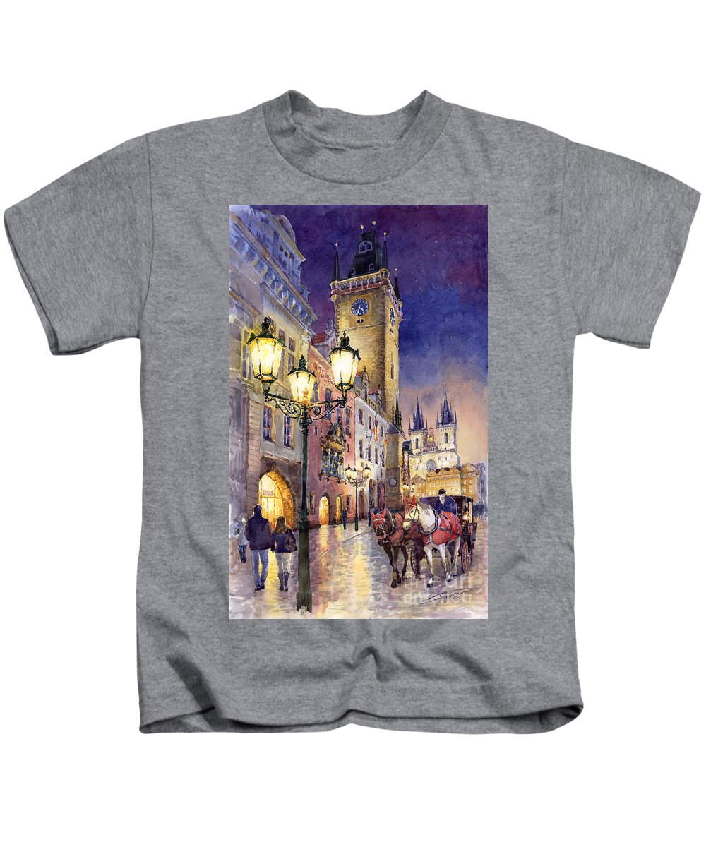 Cityscape Kids T-Shirt featuring the painting Prague Old Town Square 3 by Yuriy Shevchuk