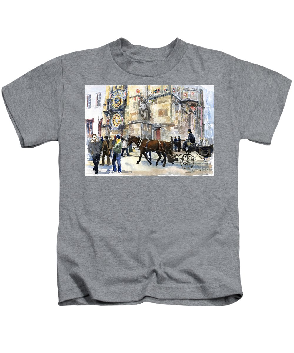 Watercolour Kids T-Shirt featuring the painting Prague Old Town Square Astronomical Clock Or Prague Orloj by Yuriy Shevchuk