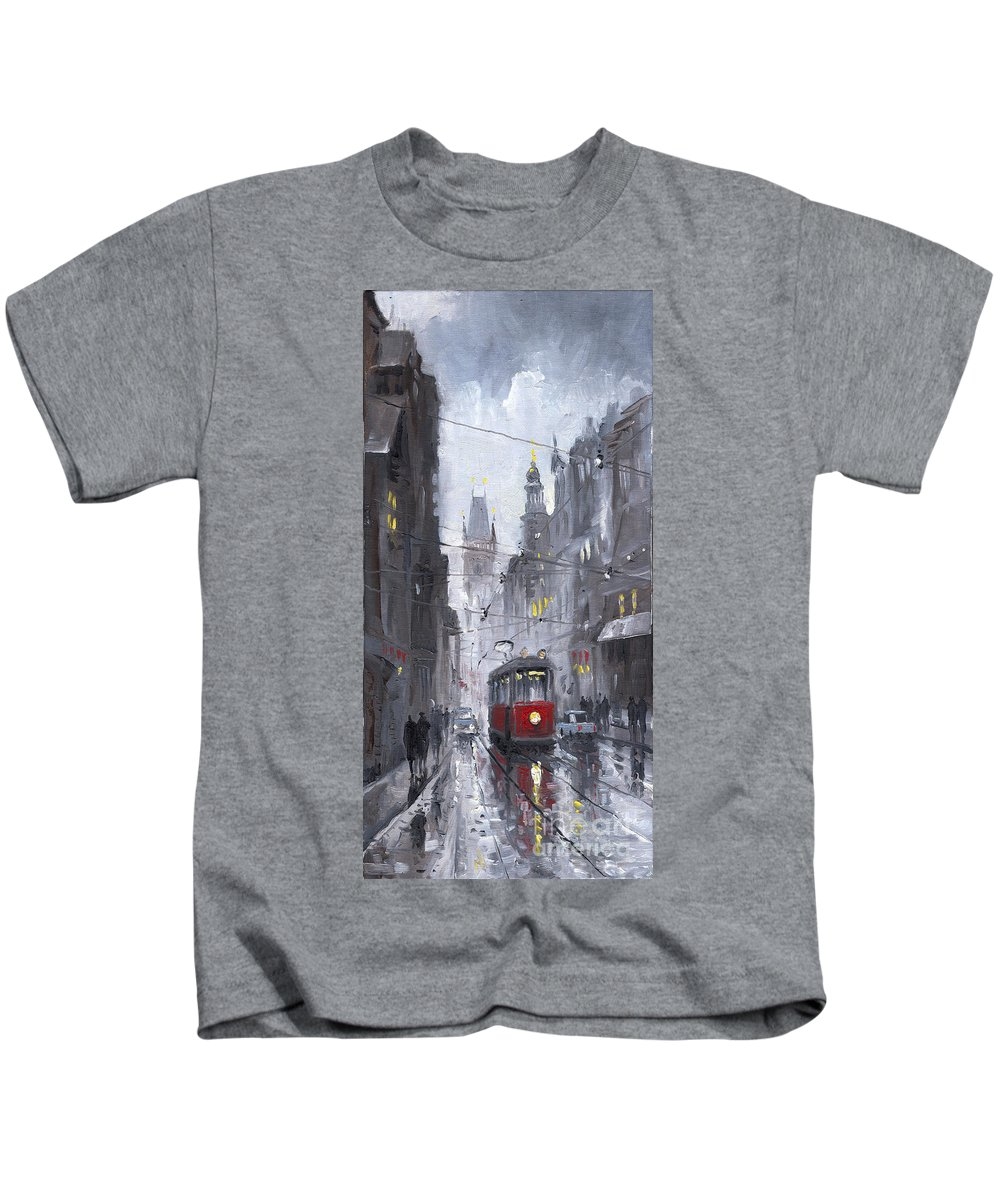 Oil On Canvas Kids T-Shirt featuring the painting Prague Old Tram 03 by Yuriy Shevchuk