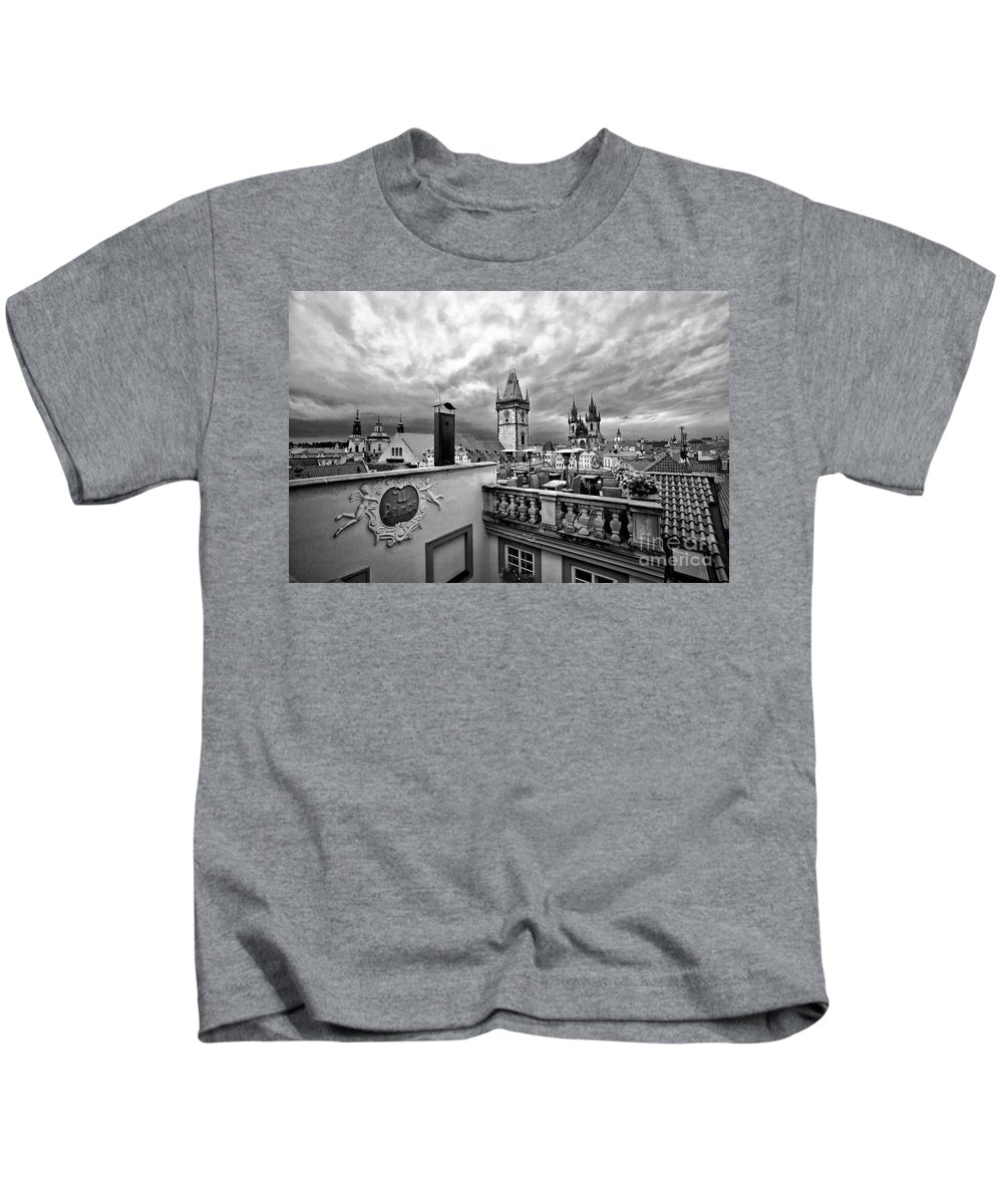Prague Kids T-Shirt featuring the photograph Prague View From The Top by Madeline Ellis