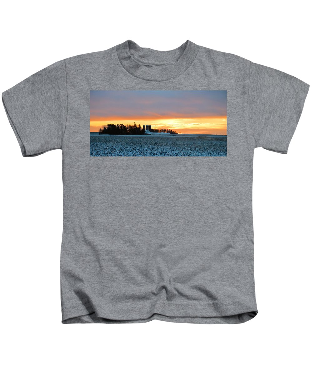 Agriculture Kids T-Shirt featuring the photograph Prairie Winter Sunrise by Bonfire Photography