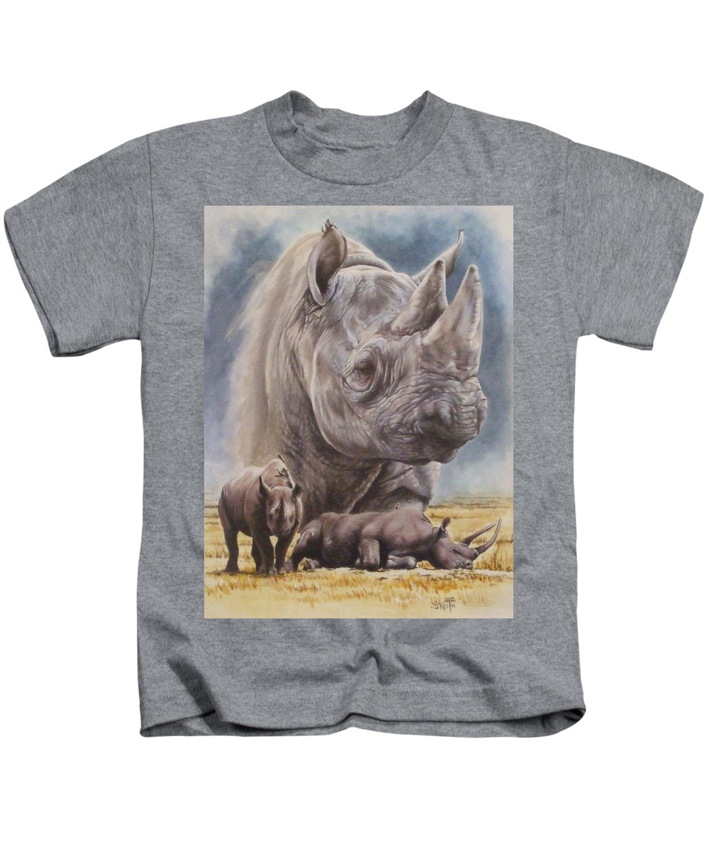 Wildlife Kids T-Shirt featuring the mixed media Precarious by Barbara Keith