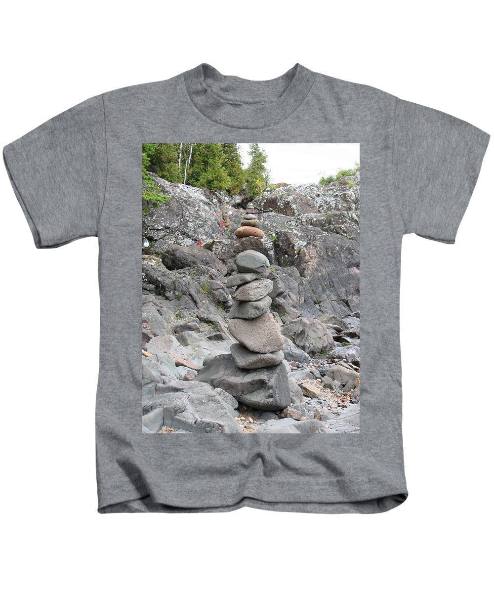 Stones Kids T-Shirt featuring the photograph Precarious by Kelly Mezzapelle